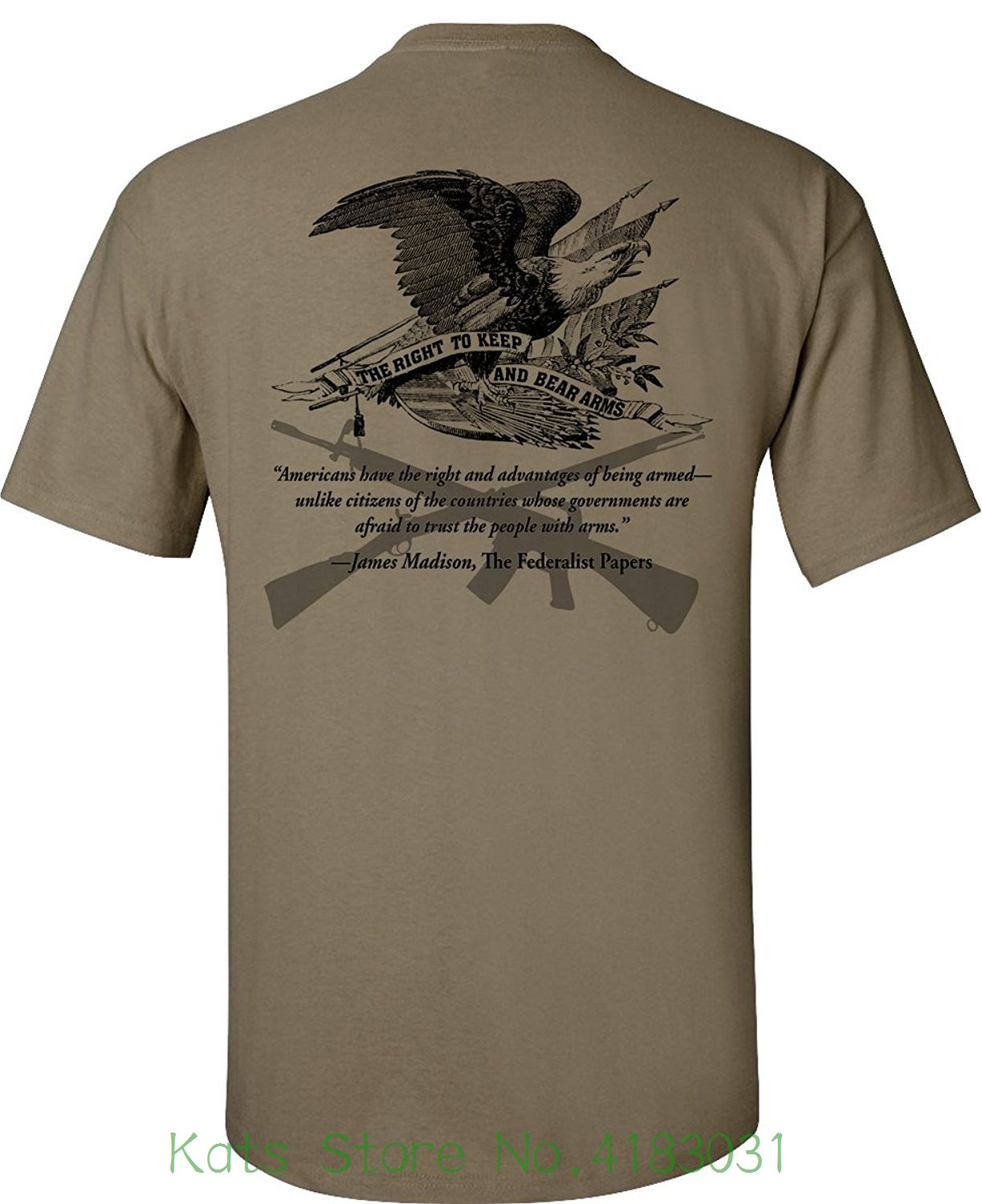 Right To Bear Arms T-shirt - Coyote Tan Good Quality Brand Cotton Shirt Summer Style Cool Shirts