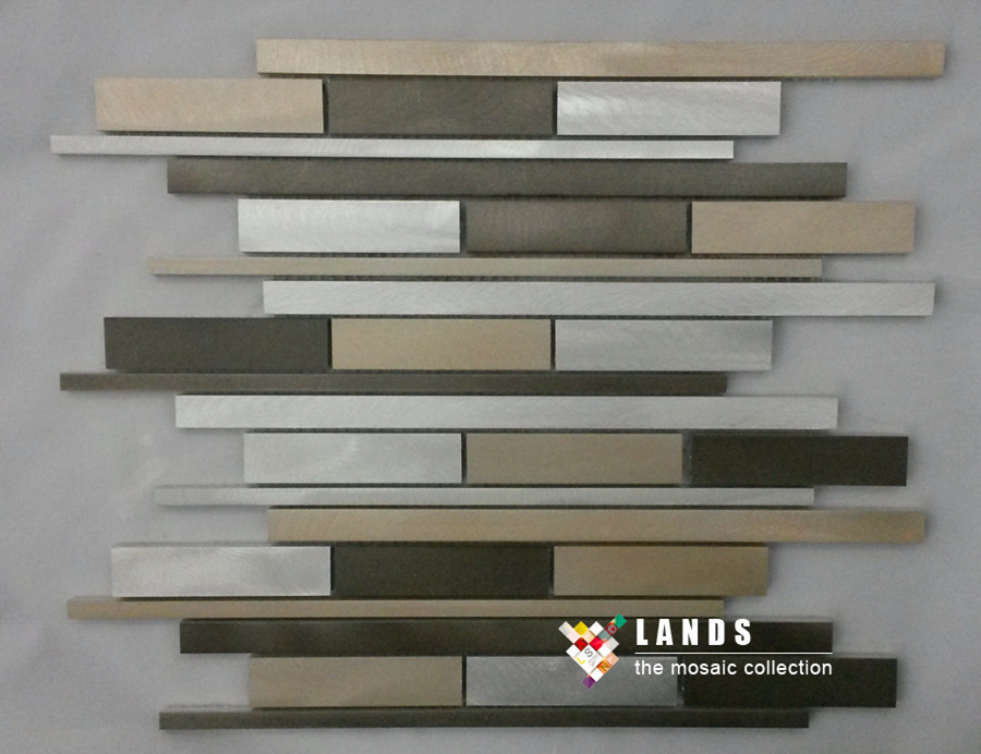 3d metal mosaic strip design kitchen backsplash wall metal for Dosseret aluminium cuisine