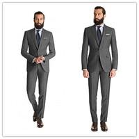 Новое поступление Летний стиль 100% шерсть Классический Прохладный Серый 2 шт. две кнопки с лацкан с тупым углом Мужчины костюм Slim Fit