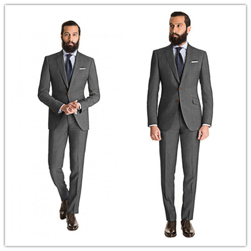New Arriving Summer Style 100% wool classic cool grey 2 pcs two button with notch lapel men suit slim fit