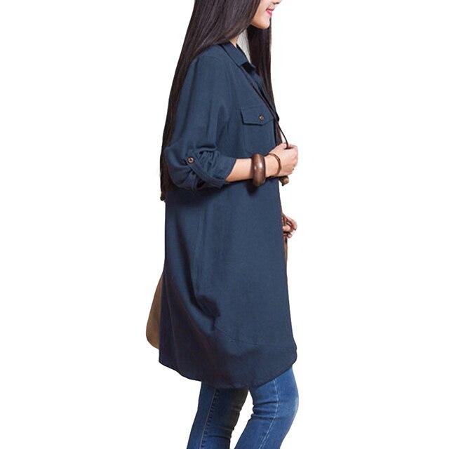 Long Sleeve Blouse Shirts Women tunics Plus Size 3XL 4XL 5XL OL Long Tops Irregular Hem Buttons Loose Casual Vintage Tops female 2