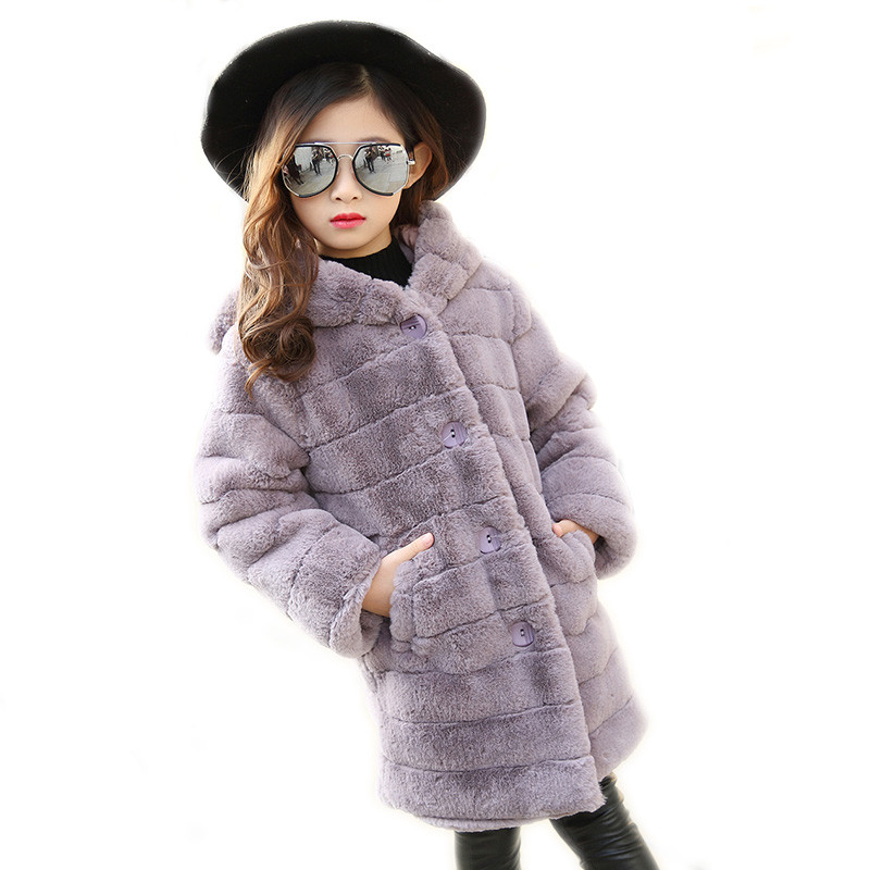 2017 Girls Winter Coat Long Sections Jacket Girls Winter Faux Fur Long Sleeve Hooded Coat Kid School Warm Christmas Cute Coat 2017 new baby boys and girls winter warm long coat kid hooded jacket kid fashion cute cartoon thick down solid color winter coat