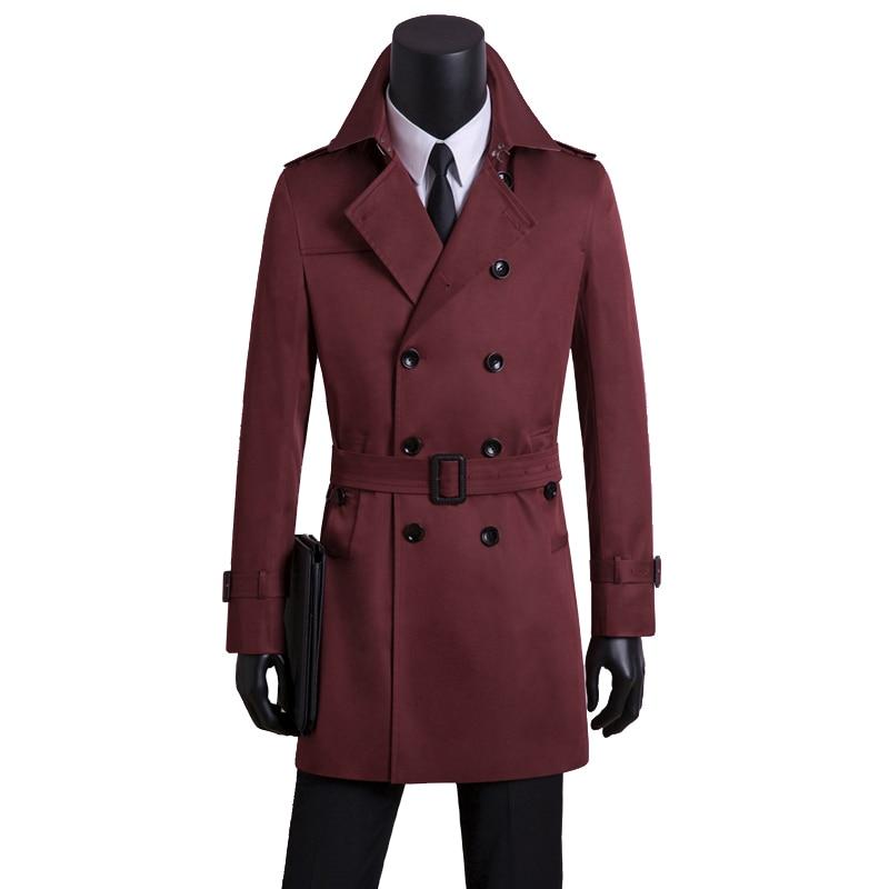 Мужские длинные тренчи, Мужская двубортная одежда, мужской Тренч, весна и осень размера плюс, Повседневная приталенная одежда цвета хаки - 3