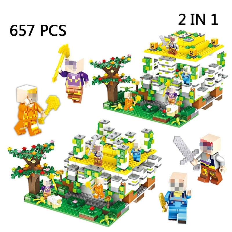 Realistic 657pcs My World Series 2 Change Jungle Altar Ruins Building Blocks Sets Compatible Legoings Minecrafted Bricks Toys Kid Gifts Fragrant Aroma Blocks