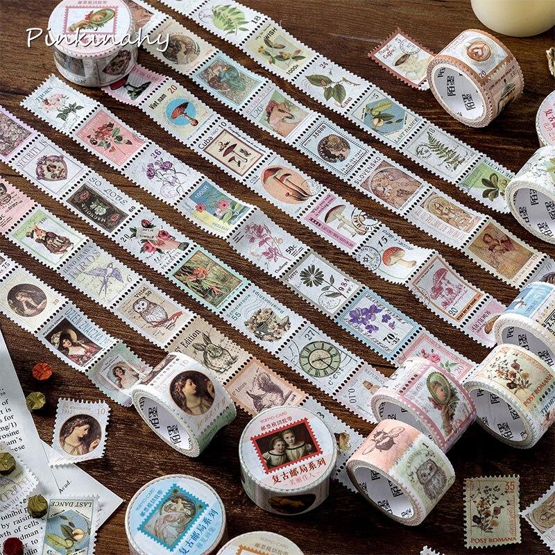 Vintage Stamp Series European Flower Plant Decorative Adhesive Tape Masking Washi Tape DIY Scrapbooking Sticker Label Stationery
