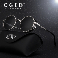 CGID Polarized Steampunk Sunglasses Round Metal Sunglasses Brand Designer Retro Vintage Sunglasses UV400 For Men Women