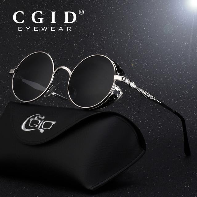 6815a3fa2 CGID Polarized Steampunk Sunglasses Round Metal Sun Glass Brand Designer Retro  Vintage Glasses UV400 for Men & Women E71