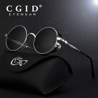 CGID Polarized Steampunk Sunglasses Round Metal Sun Glass Brand Designer Retro Vintage Glasses UV400 For Men
