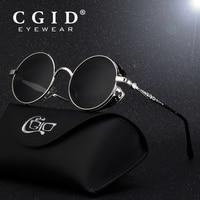 CGID Polarized Steampunk Sunglasses Round Metal Sun Glass Brand Designer Retro Vintage Glasses UV400 For Men