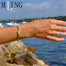 MLING New Tortoise Bracelet For Women Charm Beads Anklet Fashion Gold Jewelry Gifts