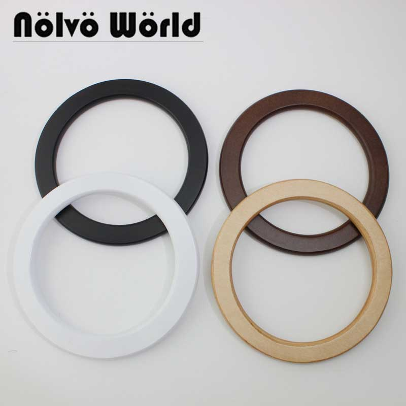 2 Pairs=4 Pieces 14cm Tabular White Circle Wood Handles For Handmade Bags,high Quality Wood Purse Hand Bag Ring Handles