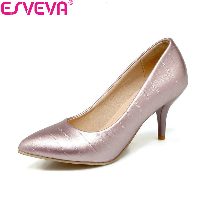 ESVEVA 2018 Women Pumps Slip on Handmade Shoes Simple and Fashion Style Pointed Toe Thin High Heels Black Pumps Shoes Size 34-43 shofoo handmade fashion women pointed toe low heels leopard pumps slip on shoes woman dress