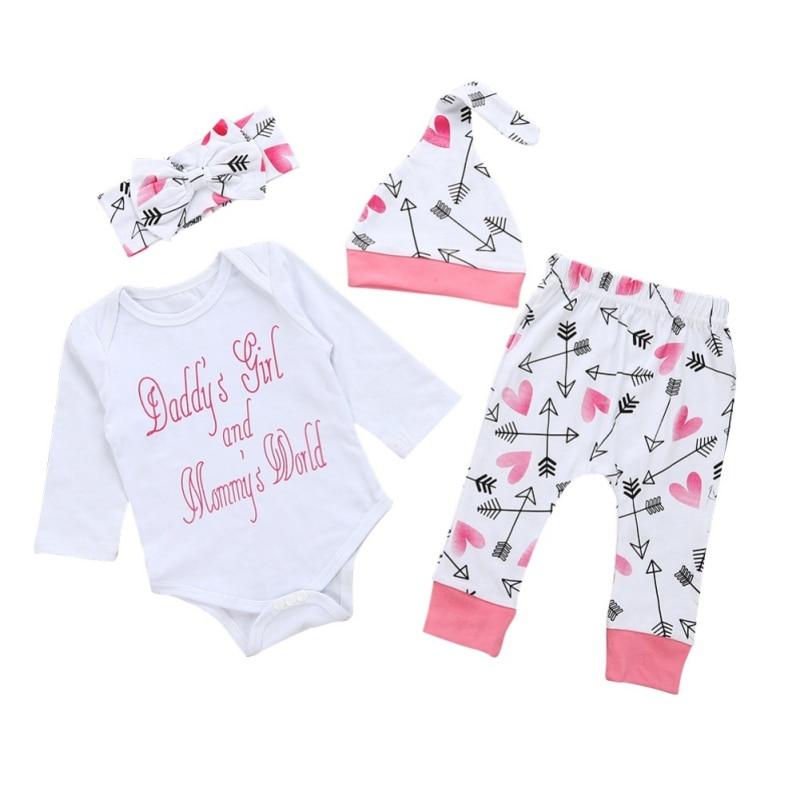 4 Pcs/Sets Autumn Letter Printed Bodsuits Foral Print Pants Hats Headwear Newborn Baby Boy Clothes Outfits Set