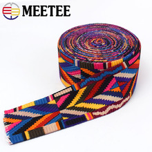 Meetee 5Meter 38/50mm Ethnic Jacquard Webbing Bag Belt Ribbon for DIY Home Textile Clothing Decor Sewing Accessories BD385