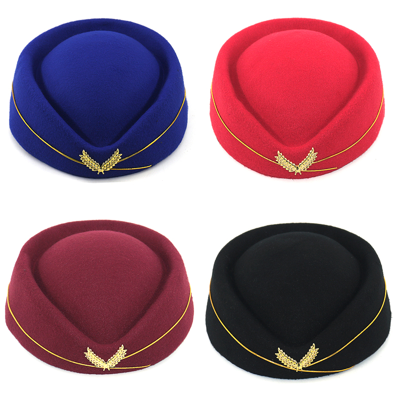 Autumn Spring fashion flight attendant wool beret cap hat women's elegant berets drop shipping