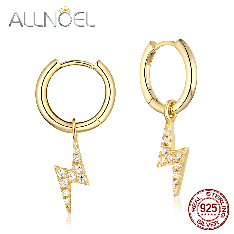 ALLNOEL Solid 925 Sterling Silver Drop Earrings For Women Zircon Diamond Gemstone Gold Plated Lightning Bolt Ray Fine Jewelry(China)