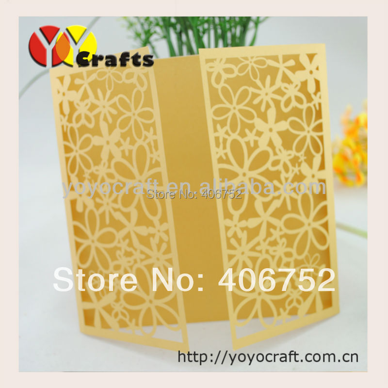 lemon yellow color flower design laser cut wedding invitation cards ...
