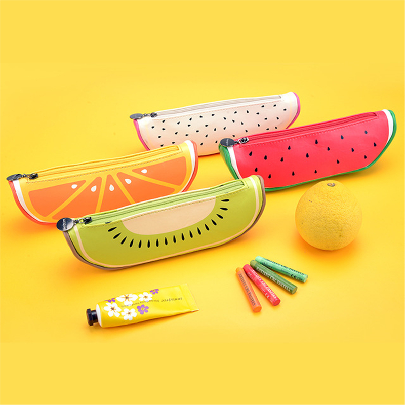 Fresh cute Fruit Orange Watermelon Kiwi PU Pen Pencil Bag School Office Supply Student Stationery Gift Storage Organizer animal cat pencil case big capacity pen bag boxes student school supplies multifunction stationery creative cute student gifts