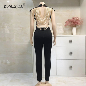 Image 5 - Hot Sale Pearl Chain Sexy Backless Jumpsuit Women Sleeveless Skinny Bodycon Rompers Women Party Overalls Casual Tassel Playsuits