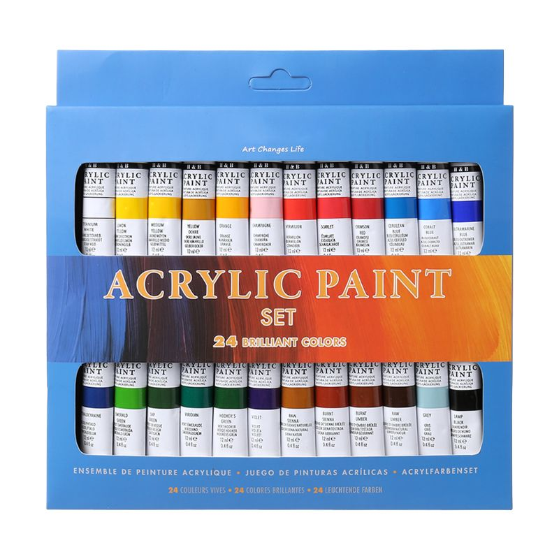 24 Colors Acrylic Paints Set 12ml Tubes Drawing Painting Pigment Hand-painted Wall Paint For Artist DIY High Quality24 Colors Acrylic Paints Set 12ml Tubes Drawing Painting Pigment Hand-painted Wall Paint For Artist DIY High Quality