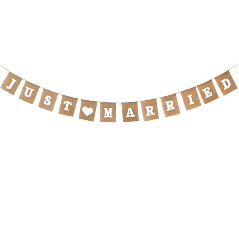 BESTOYARD 4 Meters JUST MARRIED Letter Burlap Wedding Signs Garlands And  Bunting Banners Flags Photo Booth Props For Party