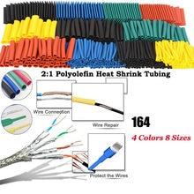 164 pces conjunto polyolefin encolhendo sortido tubo de psiquiatra de calor fio cabo isolado sleeving tubo conjunto qjs loja