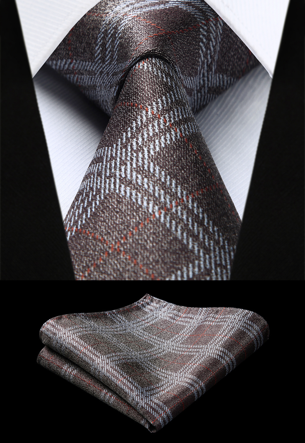 Party Wedding Classic Pocket Square Tie Woven Men Tie Fashion Brown Check Plaid Necktie Handkerchief Set#TC923Z8S