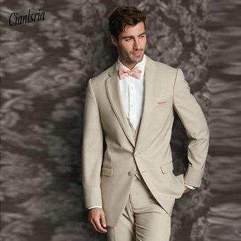 Slim Fit Beige Wedding Suits 2020 Groom Tuxedos 3 Pieces (Jacket+Pants+Vest) Bridegroom Best Man Blazer Prom Wear
