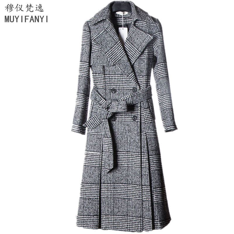 New Autumn Winter Women   Trench   Coat Vintage Plaid Double Breasted Belted Elegant Lady Slim Long   Trench   Coat Windbreaker Outwear