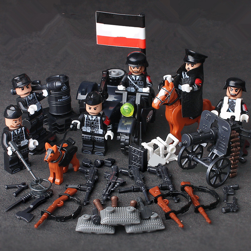 6pcs German Army MILITARY SWAT Soldiers Special Forces Navy Seals Team Marine Corps Building Blocks Figures Gifts Toys for Boys military ww2 german swat soldiers