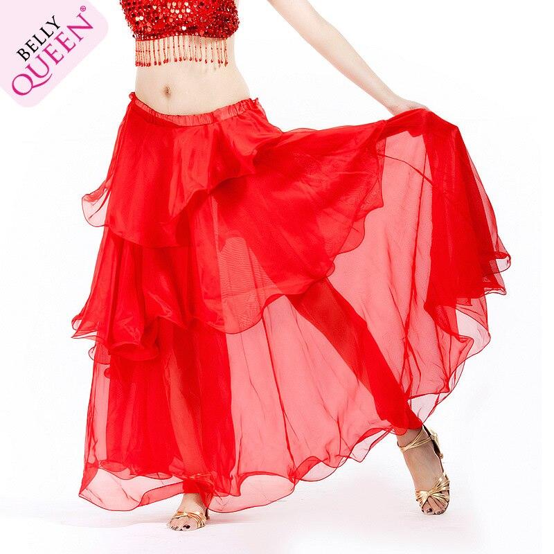 2016 Новое Прибытие Женщин Ацетат Bellydance Костюм Женщина Профессиональный Шифоновая Юбка Belly Dance 12 цветов