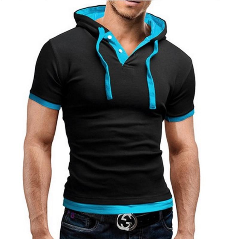 מותג 2018 Mens חולצת פולו שרוול קצר שרוול מוצק גברים פולו Homme סלים Mens הלבשה Camisas Hooded Camisa חולצת פולו XXXL