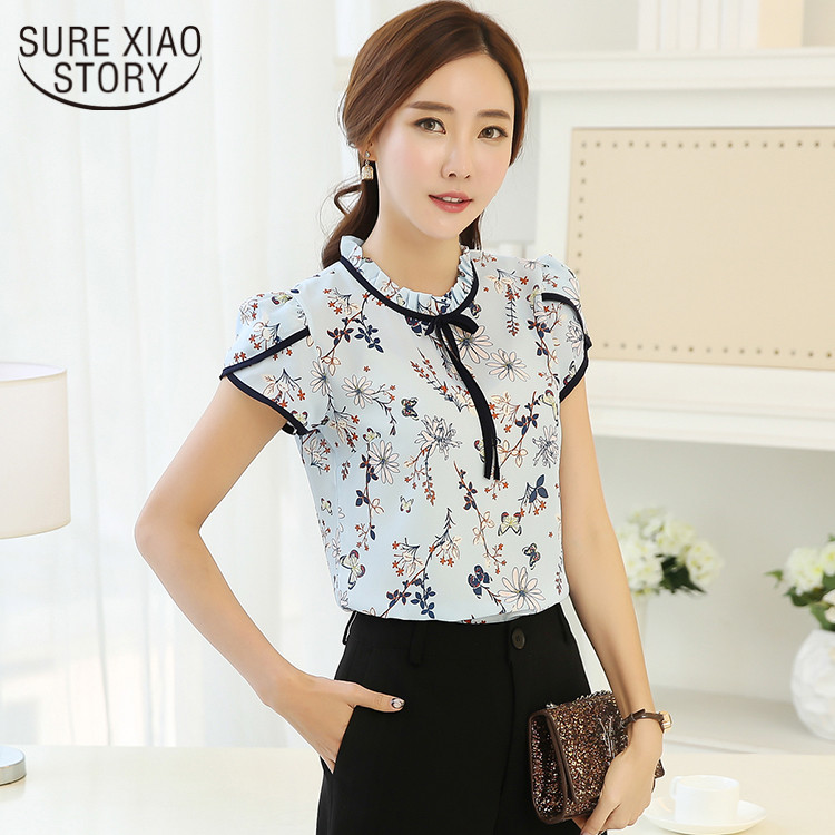 c6f47e118f25d96 2018 Новая модная летняя рубашка шифоновая и блузка рубашка пасторальная  Милая стильная короткая рубашка с цветочным принтом Свободная руба.