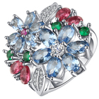 Flower Colorer Stone Engagement Ring Wedding Ring Silver Color Rings for Women Accessories Jewelry Anillos Mujer O5N046
