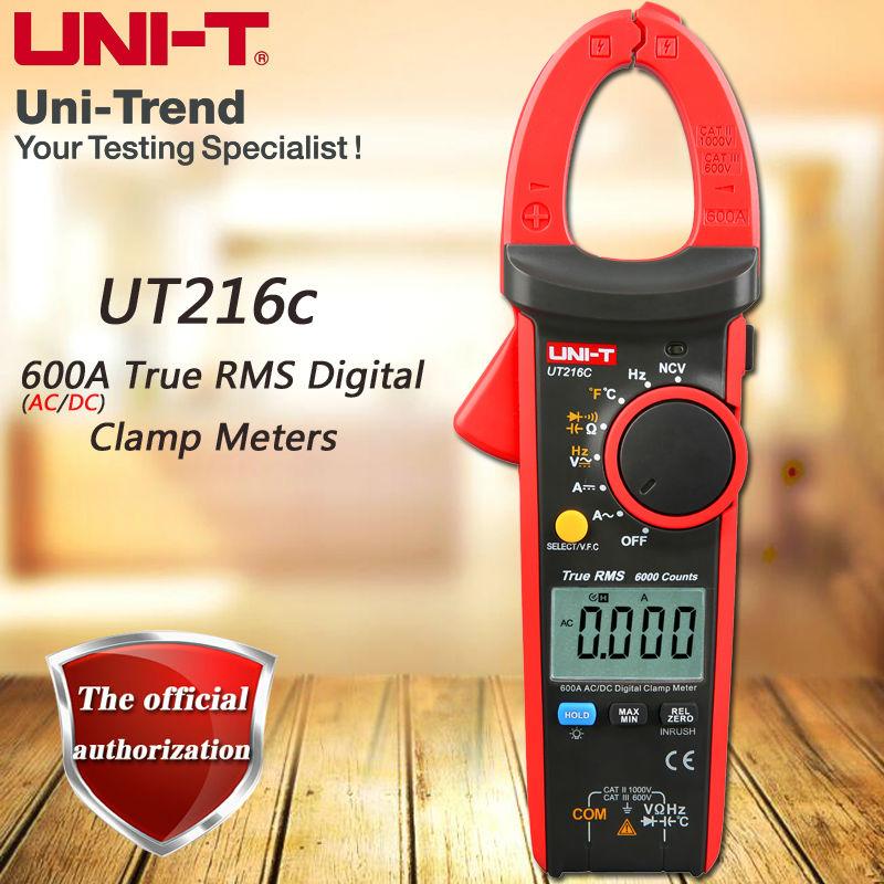 UNI-T ut216c ac/dc 600a true rms medidor de braçadeira digital/medição relativa/teste de temperatura/medição de freqüência/vfc/ncv