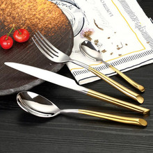 KTL 24 Pcs Gold Dinnerware Set Top Quality 304 Stainless Steel Tableware Knife and Fork and Spoon Teaspoon Flatware Cutlery Set