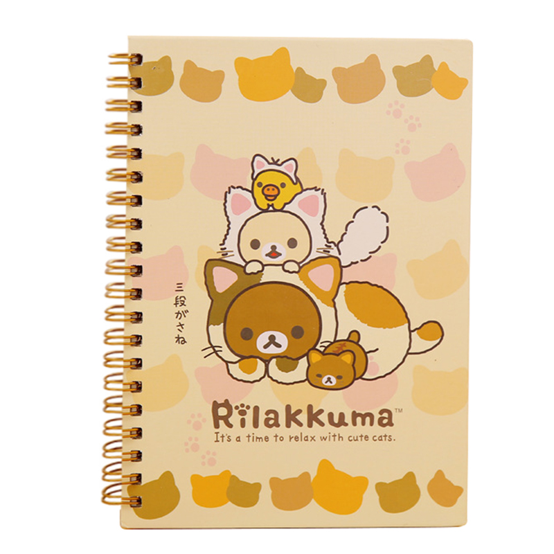 Kawaii Japan cartoon Rilakkuma&Sumikkogurashi Coil notebook/Diary agenda/pocket book/office school supplies Yellow Bear Play Cat