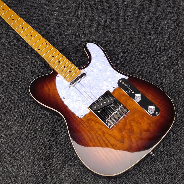 Bơi Tro Sunburst TL Sáp Chậu Chất Lượng Cao Pickups tươi sáng và duy trì Âm Thanh Thực Hành Điện Guitar Miễn Phí Vận Chuyển