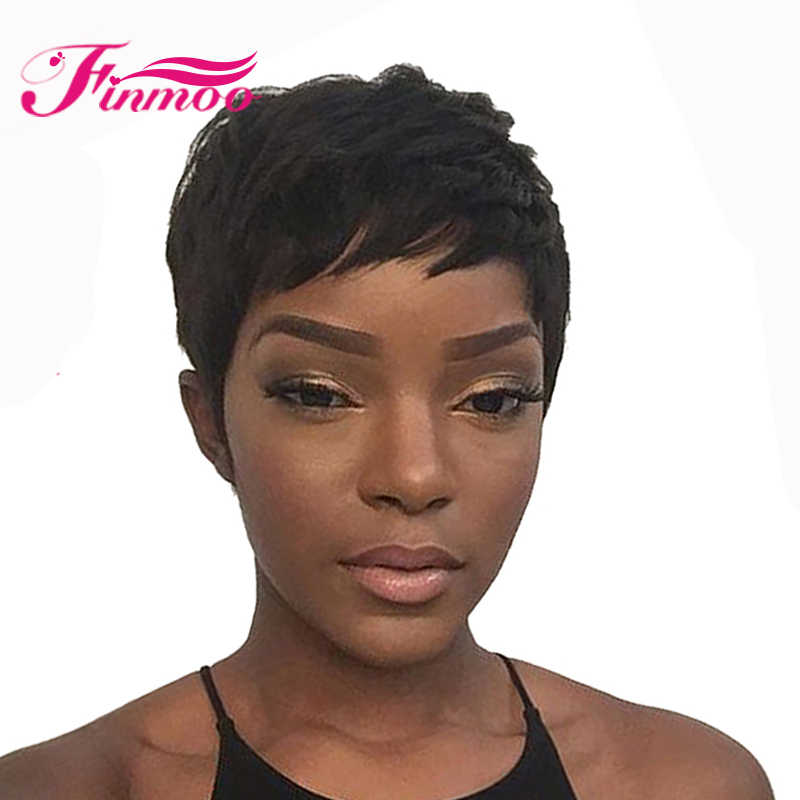 Short Straight Human Hair Wigs Remy Hair With Baby Hair Peruvian Machine Made Short Wig For Women Natural Color Free Shipping
