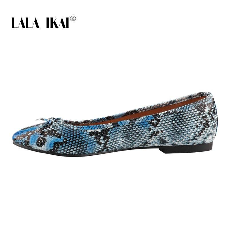 LALA IKAI Yılan Desen Kadınlar Flats İlkbahar Yaz Kelebek-düğüm PU Slip-On düz ayakkabı Yuvarlak Ayak Sapato Feminino 014A3474-45