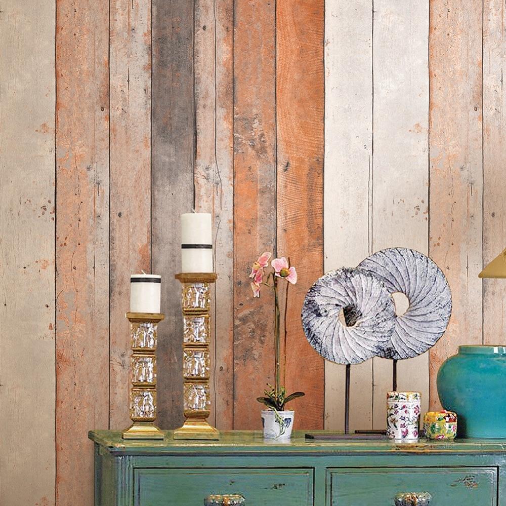 haokhome vintage wood wallpaper rolls rustwheatbrown wooden plank panel mural home kitchen - Decorative Wood Panels