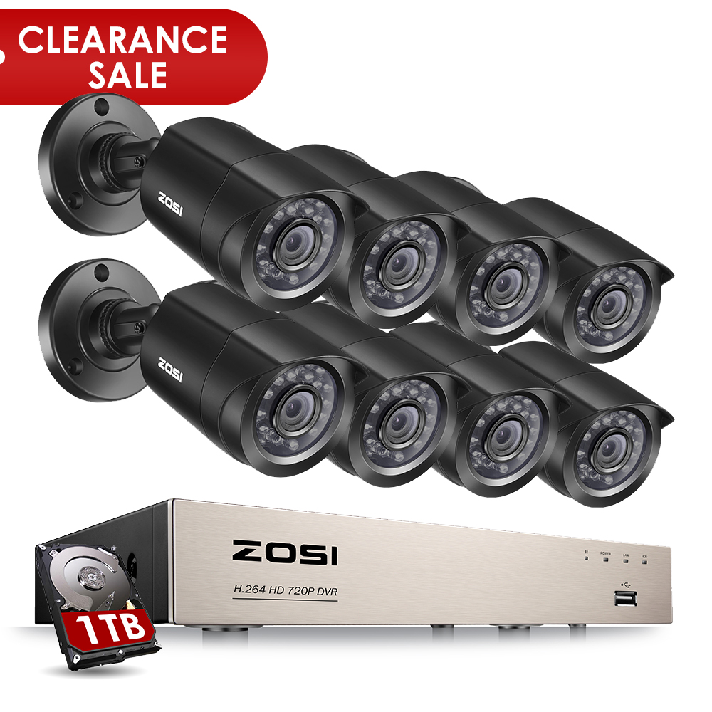 ZOSI 8-Canale 1080N HD-TVI DVR Telecamera di Sorveglianza Kit 8x 1280TVL 720 p Indoor Outdoor IR Intemperie Telecamere 1 tb HDD