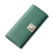 2017 New Womens Wallets Long Lady Cow Leather Purse 2 Fold Real Leather Wallet Female