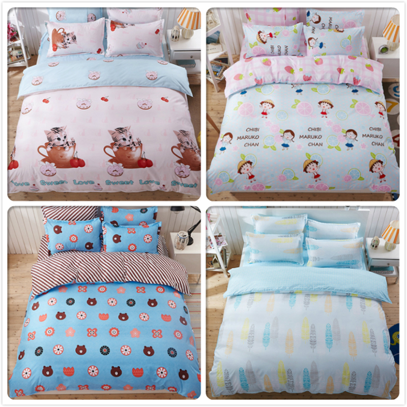 4/5/6/7 feet 1.2m 1.5m 1.8m 2.0m 2.2m Bed Linen 3/4 pcs Bedding Set Kids Bedlinen Single Double Queen King Full Size Duvet Cover