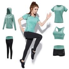 Yoga Clothing 5-piece Set Soft Elastic Comfort Loose Clothes Fitness Running Women Wear Sport Shorts Sleeve Shirt Gym Coat Suit