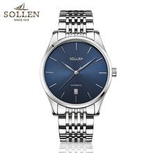 Новая Мода топ luxury brand Sollen часы мужчины механическая автоматическая нержавеющей стали ремешок ультра тонкие часы Relogiomasculino