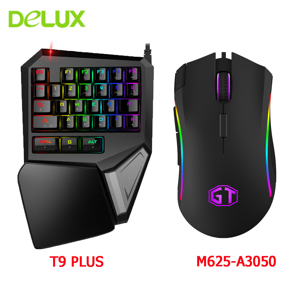 Delux Wired Gaming Keyboard Mouse Combo T9 Pro Single Hand Mechanical Keypad And M625 Wired RGB Game Computer Mice Kit For Gamer delux mini keyboard t9 pro gaming mouse 626 wired professional gaming 7 color backlit wired mouse 5000dpi 6600 fps for game pc