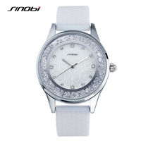 SINOBI Fashion Diamond Women Dress Watches Luxury Brand Silicone Strap Ladies Quartz Watch Women Wristwatches Relogio