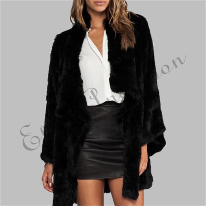 Этель Андерсон дамы высшего уровня вязаное пальто из натурального кроличьего меха отложной воротник куртка с длинным рукавом Нерегулярные