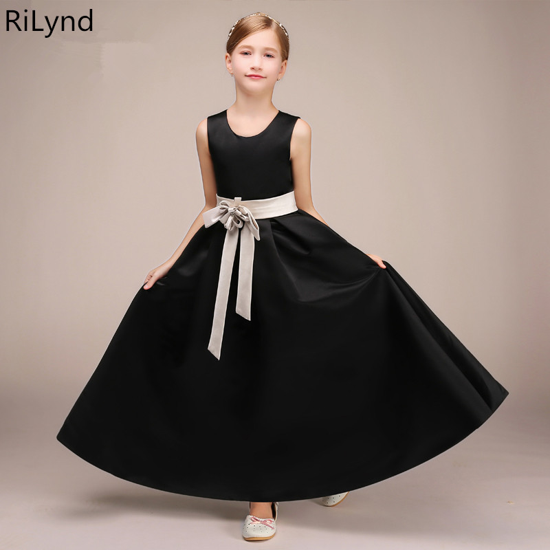 New Black Puffy Lace Flower Girl Dress for Weddings Long Sleeves A-Line Gown Girl Party Communion Pageant Gown Vestidos цены